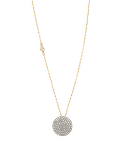 Pave Crystal Disk Necklace In Gold Tone