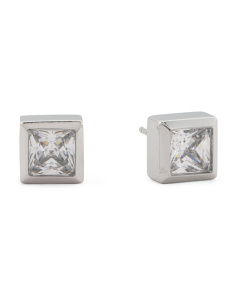Square Crystal Stud Earrings In Silver Tone