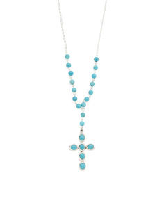 Made In Mexico Sterling Silver Turquoise Rosary Necklace