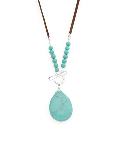 Made In Mexico Sterling Silver Turquoise Suede Necklace