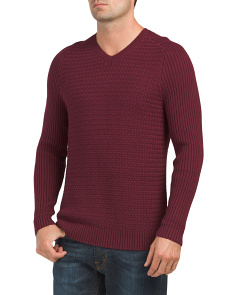 Mixed Stitch V Neck Sweater