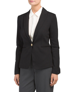 Long Sleeve One Button Lapel Blazer