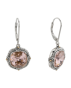 14k Gold And Sterling Silver Swarovski Crystal Drop Earrings