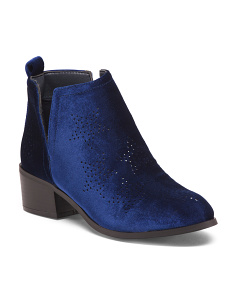 Velvet Block Heel Star Booties