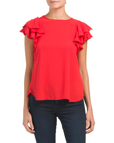 Petite Made In Usa Ruffle Blouse