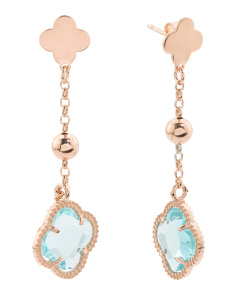 Made In Italy Rose Gold Plated Sterling Silver Drop Earrings