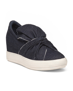 Knotted Bow Slip On Wedge Sneakers