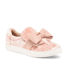 Slip On Velvet Sneakers With Bow
