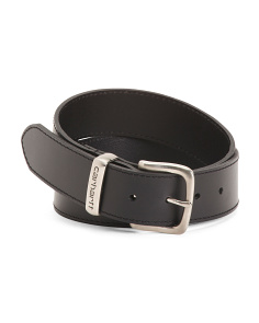 Men's Metal Logo Loop Leather Belt