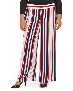 Plus Multi Striped Wide Leg Pants