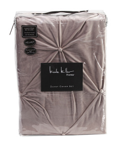 Velvet Ruched Pintuck Duvet Set