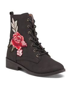 Lace Up Embroidered Combat Boots