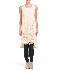 Sleeveless Crochet Overlay Tunic