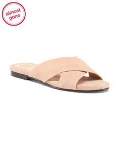 Cross Strap Suede Slide Sandals
