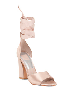 Satin High Heel Ankle Strap Sandals