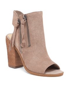 Stacked Heel Peep Toe Suede Booties