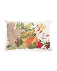 14x20 Crewel Stitch Cornocopia Pillow