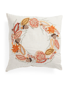 Made In India 20x20 Embroidered Wreath Pillow