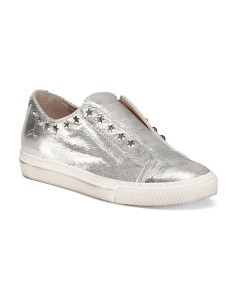 Made In Italy Leather Metallic Sneakers