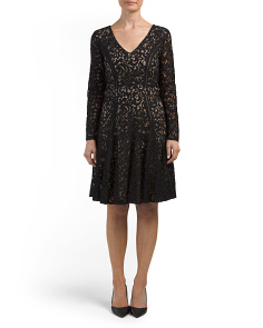 Claire Long Sleeve V Neck Lace Dress