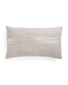 14x24 Metallic Jute Oblong Pillow