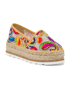 Made In Spain Multi Color Embroidery Shoes