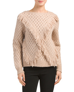 Wool Blend Fringe Pullover Sweater