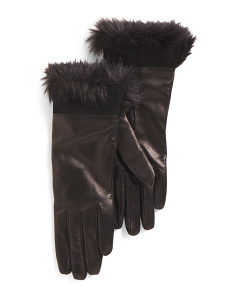 Made In Italy Foldover Cuff Leather Gloves