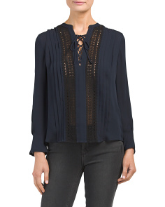 Georgette Silk Top With Lace