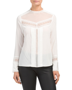 Long Sleeve Silk Lace Top