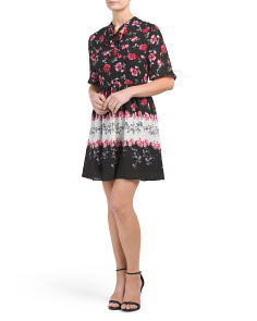 Petite Elise Floral Tie Neck Dress