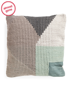 Made In India 22x22 Textured Modern Pattern Pillow