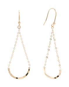 Made In Italy 14k Gold Curved Bar Chain Drop Earrings