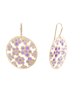 Made In Italy 14k Gold Enamel Disk Earrings