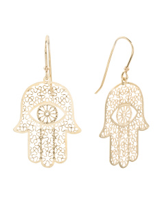 Made In Italy 14k Gold Hamsa Earrings