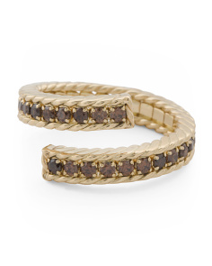 Made In Italy 14k Gold Brown Cz Cable Bypass Ring