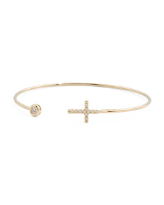 Made In Italy 14k Gold Pave Cz Cross And Open Bangle Bracelet
