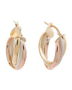 Made In Italy 14k Tricolor Gold Triple Oval Hoop Earrings