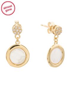 Made In Italy 14k Gold Mother Of Pearl Cz Drop Earrings