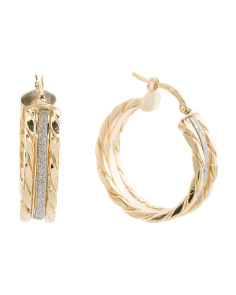 Made In Italy 14k Gold Glitter Cable Hoop Earrings