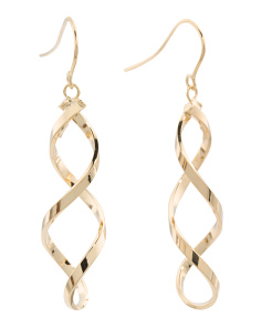 Made In Italy 14k Gold Long Twist Earrings