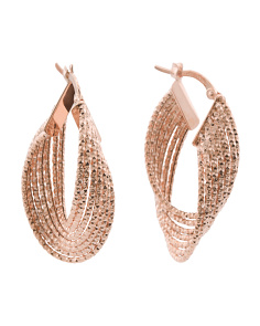 Made In Italy 14k Rose Gold Textured Twisted Hoop Earrings