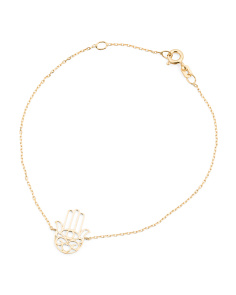 Made In Italy 14k Gold Hamsa Filigree Bracelet