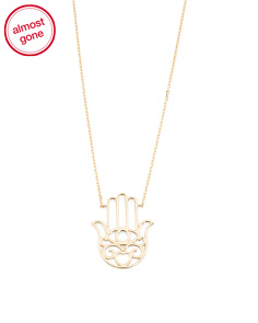 Made In Italy 14k Gold Hamsa Filigree Necklace