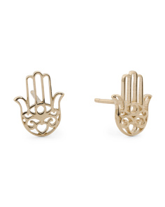Made In Italy 14k Gold Hamsa Filigree Stud Earrings