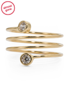 Made In Italy 14k Gold CZ Coiled Ring