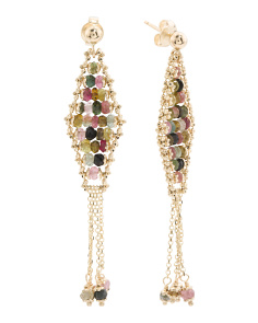Made In Italy 14k Gold Multi Gem Marquis Tassel Earrings