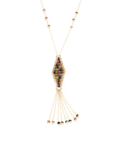 Made In Italy 14k Gold Multi Gem Marquis Tassel Necklace