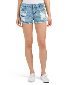 Pearl Embellished Denim Shorts