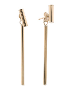 Made In Italy 14k Gold Double Bar Linear Earrings